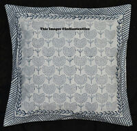 "Traditional Block Print 16x16"" Cushion Cover Ethnic Cotton Sofa Pillow Cover Art"