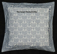 """Traditional Block Print 16x16"""" Cushion Cover Ethnic Cotton Sofa Pillow Cover Art"""