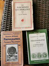 Rare lot de livres anciens phonographe musique mécanique collection
