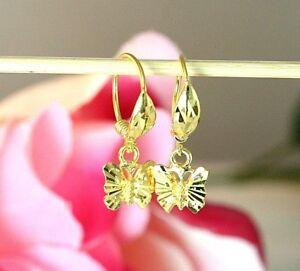 22K THAI BAHT DP YELLOW GOLD ~ DIAMOND CUT BUTTERFLY DROP DANGLE HOOP EARRINGS