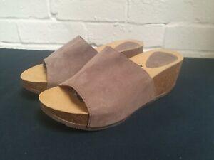 Scholl Enigan 2.0 Suede Sandals Sliders Slip On Mules in Taupe Brown UK4 EU37