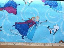 15 yd BOLT BLUE SISTER ICE SKATING FROZEN GLITTER COTTON FABRIC DISNEY wholesale
