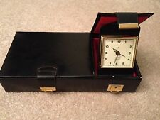 Vintage GRIFFON Manicure Pedicure PETER Travel Clock. Black Cowhide. Germany