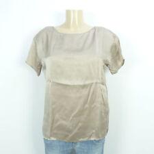 DRYKORN Blusen-Shirt Tunika Bluse Seide Silk Beige Braun Gr. 2 DE 36 (BI310)