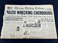 Nazis Wrecking Cherbourg 1944 Old Newspaper Chicago Tribune Jun 25