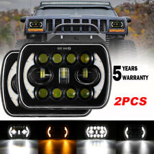 2pcs 5X7 7x6 LED Headlight Fit for 1986-1995 Jeep Wrangler YJ 84-01 Cherokee XJ