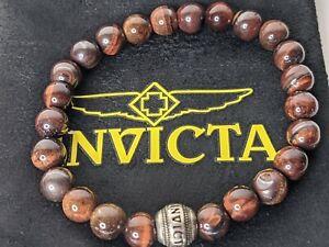 Invicta Men's Red Tiger's Eye Beaded Bracelet 35908