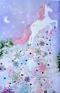 Unicorn Daughter at Christmas Card