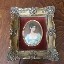 "Vtg Framed Mini CAMEO CREATION Square  Portrait 5.5"" Woman In Gown"