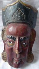 INDIAN CRAFT HAND CARVED WOODEN TRIBAL DEVIL FACE WALL HANGING MASK FOLK ART
