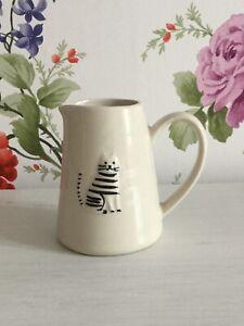 Gisela Graham Small Ceramic Cream Jug with Cat Design 8cm