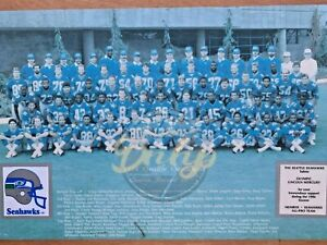 Seattle Seahawks 1986 Krieg Largent Knox TEAM Wood Image Vtg Made USA RARE