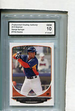 2013 Bowman Card George Springer ROOKIE Houston Astros GRADED GEM 10 # TP20
