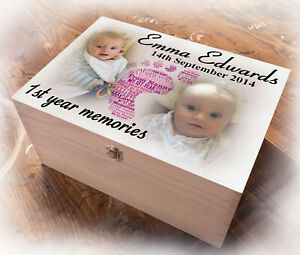 Large wooden keepsake box 1st year memory gift box, baby boy or girl birthday