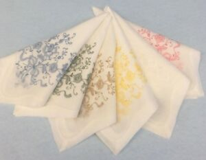 """Set of 6 Hand Embroidered Linen Handkerchiefs NICE """"Moseley's"""" New Old Stock"""
