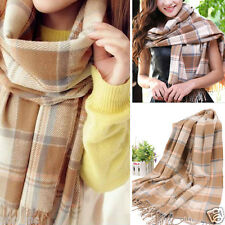 Sepia Women's Winter Long Scarf Wrap Blanket Oversized Shawl Plaid Check Tartan