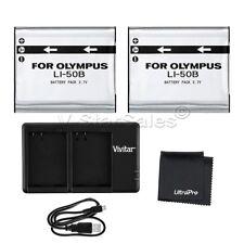 2x LI-50B Replacement Battery +USB DualCharger for Select Olympus Cameras +Bonus