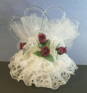 Romantic and Beautiful-Wedding Cake Topper-Spun Glass combined Hearts-purple vtg