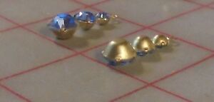 2 Swarovski Crystal Pendants Sapphire Blue Gold Sparkly