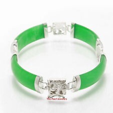 Green Jade Bracelet with 925 Sterling Silver Dragon Styled Partitions - TPJ