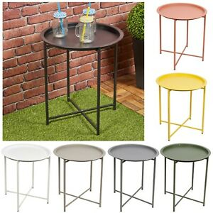 46cm Round Metal Folding Indoor Outdoor Travel Folding Table Home Furniture