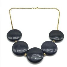 925 Sterling Silver Gold Plated Chunky Heavy Goldstone Statement Necklace