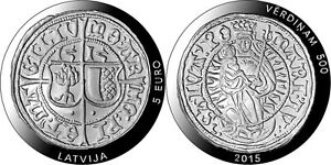 """Latvia 5 euro 2015 """"500 years of Livonian ferding"""" AG Silver coin PROOF"""