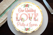 Wedding Cake Topper Comestible Glaseado Oblea Personalizado Redondo/Cuadrado/Rectángulo