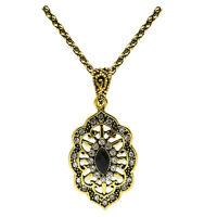 Vintage Style Black Antique Gold Teardrop Pendant Corn Chain Necklace N489