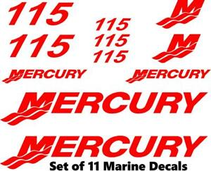 (11pc) Set of 115 Hp Mercury outboard cowling decal set custom color choices
