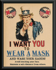 1918 Wash Your Hands Pandemic Poster Reprint On 100 Year Old Paper 241