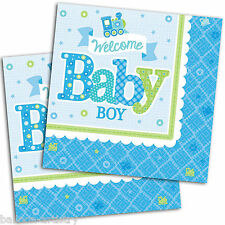 16 Little Blue WELCOME Baby Boy Shower party 33 cm Carta LUNCHEON TOVAGLIOLI