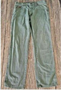 Wrangler Texas Mens Light Green Khaki Classic Straight Denim Jeans Size W34 L32