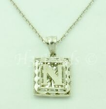 18k solid white gold filigree  initial N pendant #5236 h3jewels 2.20 grams
