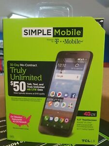 SIMPLE Mobile TCL LX 16GB Smartphone 4G LTE by T-Mobile, ALCATEL BRANED NEW