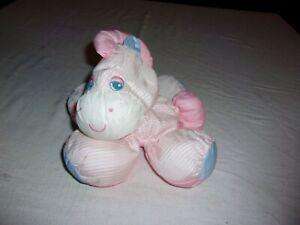 Vtg Fisher Price PUFFALUMP Plush Toy PONY Zebra Horse 1991 Pink Stars Stripes J1