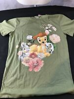 New: Bambi Flower Short Sleeve Boyfriend Graphic T-Shirt - Green - Size: S