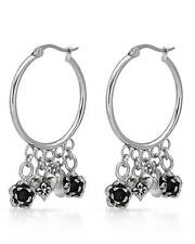 ED HARDY Stylish Hoop Rose & Heart Charms Earrings Made in Stainless steel.