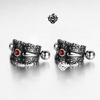 Silver stainless steel red crystal earrings huggies cuff screw on Soft Gothic