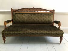 More details for victorian walnut arts & crafts sofa c1880 reupholstered in green liberty velvet