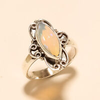 Natural Ethiopian Welo Fire Opal Ring 925 Sterling Silver Women Fine Jewelry New