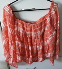 FOREVER NEW Coral Pink Stripped Cropped Top Midriff Boho Size 14