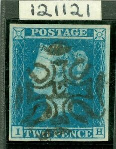 SG 14f 1841 2d blue lettered I.H. Superb used with a crisp full upright '12'...