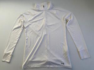 Under Armour Size Medium Women Activewear Jacket -White High Neck 1/2 Zip