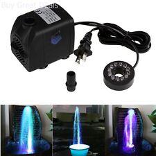 Submersible Pump Color LED Light Outdoor Fountain Water Fall Fish Aquarium Pump