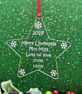 Personalised Teacher Merry Christmas  Gift Decorations Keepsake Various Shapes
