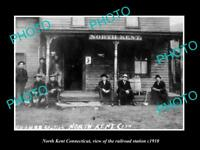 OLD LARGE HISTORIC PHOTO OF NORTH KENT CONNECTICUT THE RAILROAD DEPOT c1910