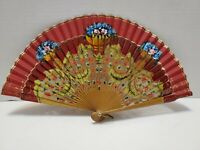 Antique Asian Bamboo and Fabric Folding Hand Fan