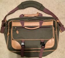 Vintage LL Bean Messenger Bag  Canvas Green With Brown Leather Laptop Bag