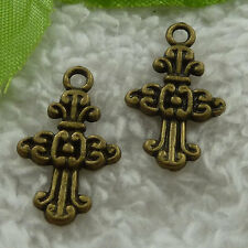free ship 280 pcs bronze plated cross charms 24x14mm #2920